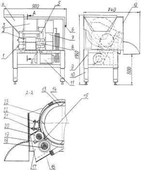 1-оси наладки; 2-наладка; 3-корпус барабана с вращающимся ротором; 4-бункер; 5-болты крепления опорных планок наладки; 6-пульт управления; 7-редуктор; 8-опорные планки наладки; 9-рама сварная; 10-подставка; 11-электродвигатель; 12-облицовка; 13-ротор; 14-планка ограничительная; 15-нож неподвижный; 16-лоток выгрузной; 17- кожух лотка; 18-нож поперечный; 19-гребёнка; 20-нож дисковый; 21-головка регулирующая; 22-винт регулировки уплотнительных планок; 23-планка уплотнительная.